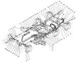 Крепление трубопроводов и шлангов гидропневматического привода рабочих тормозов автомобиля Урал 5557-40