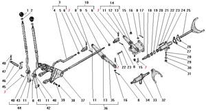 Управление и механизм переключения раздаточной коробки автомобиля Урал 4320-41