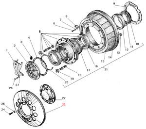 Ступица колеса и тормозной барабан переднего и заднего моста автомобиля Урал 4320-31