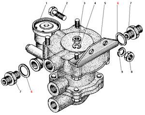 Установка клапана прицепа с клапаном обрыва автомобиля Урал 4320-31