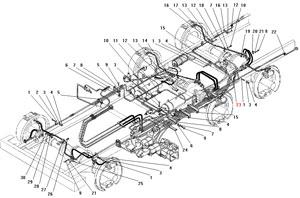 Крепление трубопроводов и шлангов  пневмогидравлического привода рабочих тормозов автомобиля Урал 4320-41