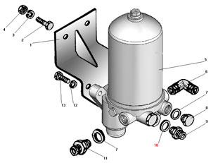 Установка влагомаслоотделителя со встроенным регулятором давления автомобиля Урал 4320-31