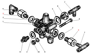 Установка тройного защитного клапана автомобиля Урал 4320-41