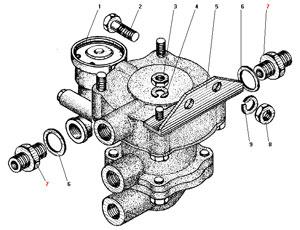 Установка клапана прицепа с клапаном обрыва автомобиля Урал 4320-41