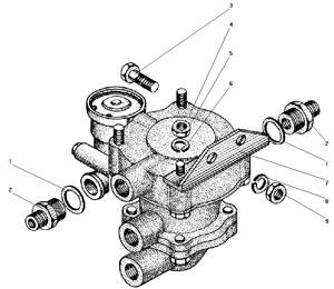 Установка клапана прицепа с защитным клапаном автомобиля Урал 43206-41