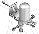 Установка влагомаслоотделителя со встроенным регулятором давления автомобиля Урал 5557-40