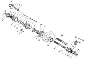 Проходной вал редуктора главной передачи автомобиля Урал 4320-41