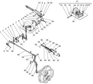 Привод стояночного тормоза и управление краном торможения прицепа автомобиля Урал 4320-31