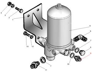 Установка влагомаслоотделителя со встроенным регулятором давления автомобиля Урал 4320-41