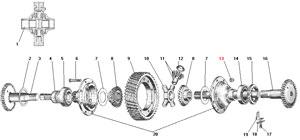 Дифференциал и полуоси среднего и заднего моста автомобиля Урал 4320-41