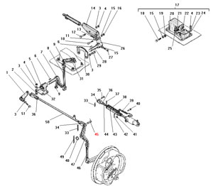 Привод стояночного тормоза и управление краном торможения прицепа автомобиля Урал 4320-41