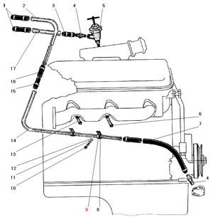 Трубопроводы системы отопления кабины автомобиля Урал 4320-41