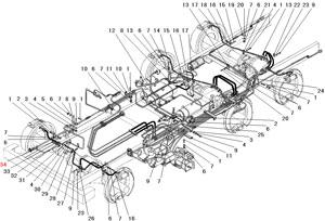 Крепление трубопроводов и шлангов пневмогидравлического привода рабочих тормозов автомобиля Урал 4320-31