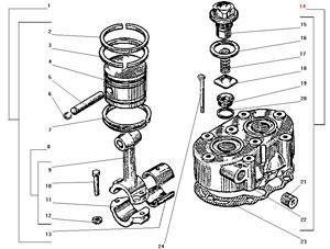 Головка и поршень компрессора автомобиля Урал 43206-41