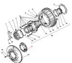 Ступица колеса и тормозной барабан среднего моста автомобиля Урал 4320-41