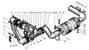 Система выпуска газов автомобиля Урал 4320-41