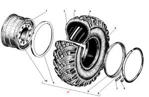 Колесо и шина автомобиля Урал 4320-41