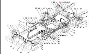 Трубопроводы и шланги пневматического привода рабочих тормозов без АБС