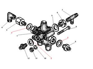 Установка тройного защитного клапана без АБС автомобиля Урал 4320-41