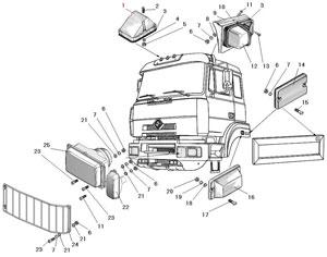 Установка фары, фонарей знака автопоезда, освещение подножек, габаритных и указателей поворота автомобиля Урал 63685